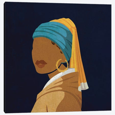 Girl With A Bamboo Earring Canvas Print #DMQ72} by Domonique Brown Canvas Wall Art