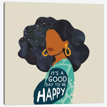Be Happy Canvas Print #DMQ87} by Domonique Brown Canvas Artwork