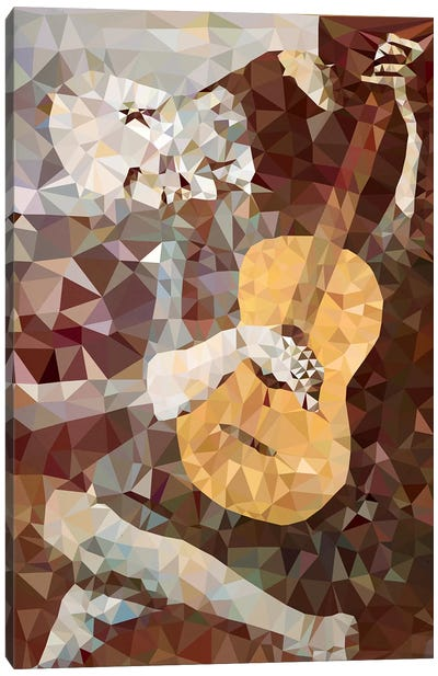 Old Guitarist Derezzed Canvas Art Print