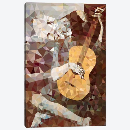Old Guitarist Derezzed Canvas Print #DMS10} by 5by5collective Canvas Art