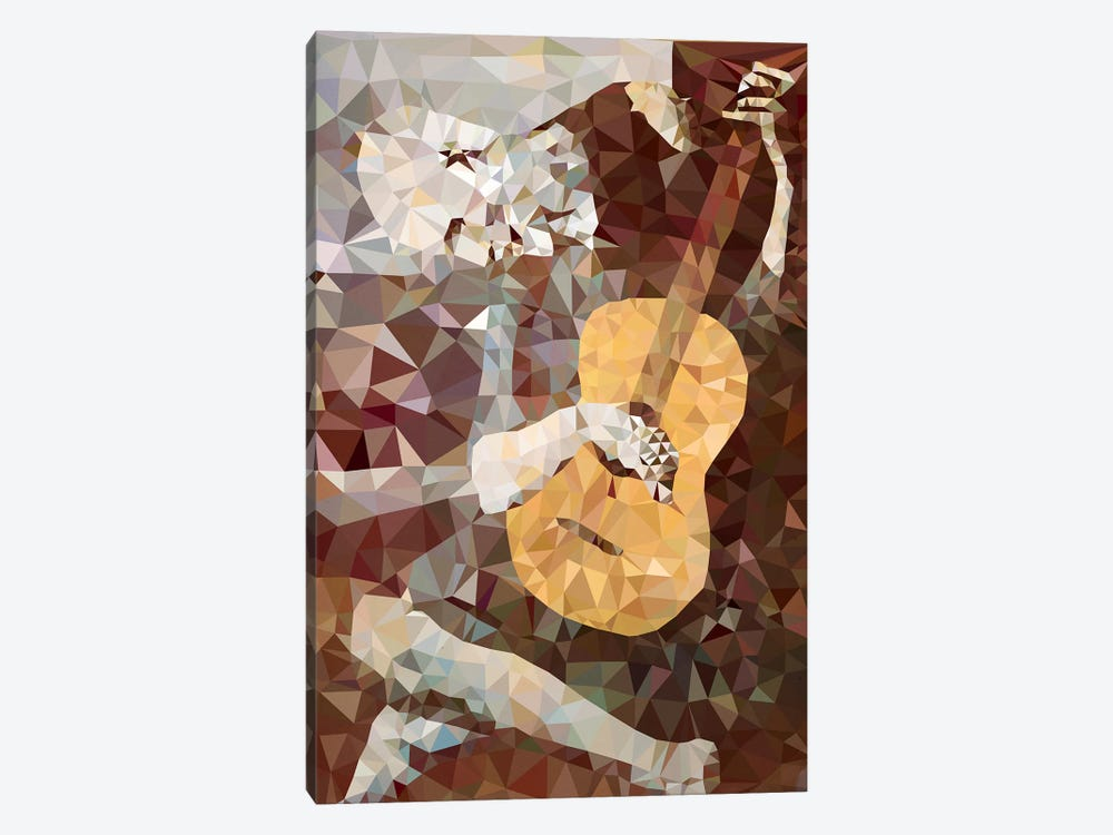Old Guitarist Derezzed by 5by5collective 1-piece Canvas Artwork