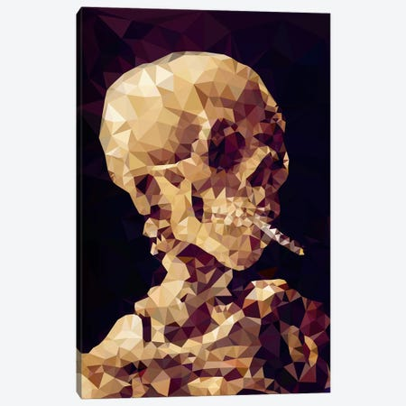 Smoking Skull Derezzed Canvas Print #DMS11} by 5by5collective Canvas Artwork
