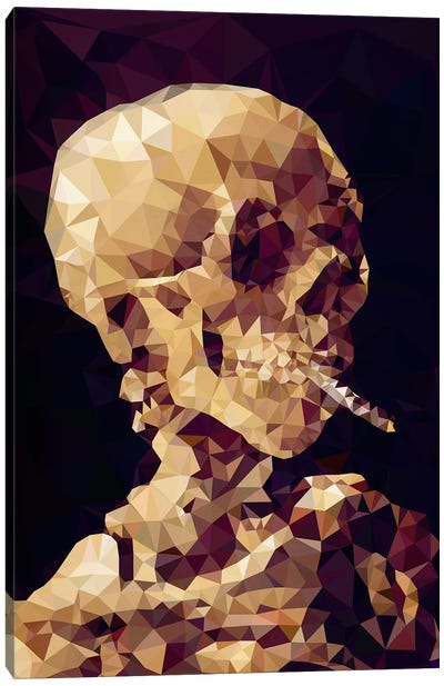 Smoking Skull Derezzed Canvas Art Print