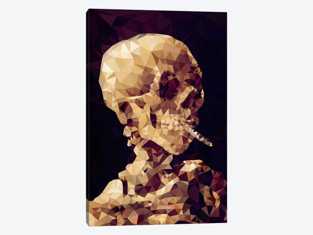 Smoking Skull Derezzed by 5by5collective 1-piece Canvas Art Print