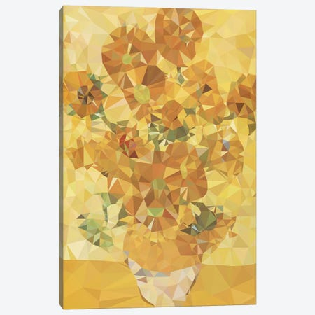 Sunflowers Derezzed Canvas Print #DMS13} by 5by5collective Canvas Art