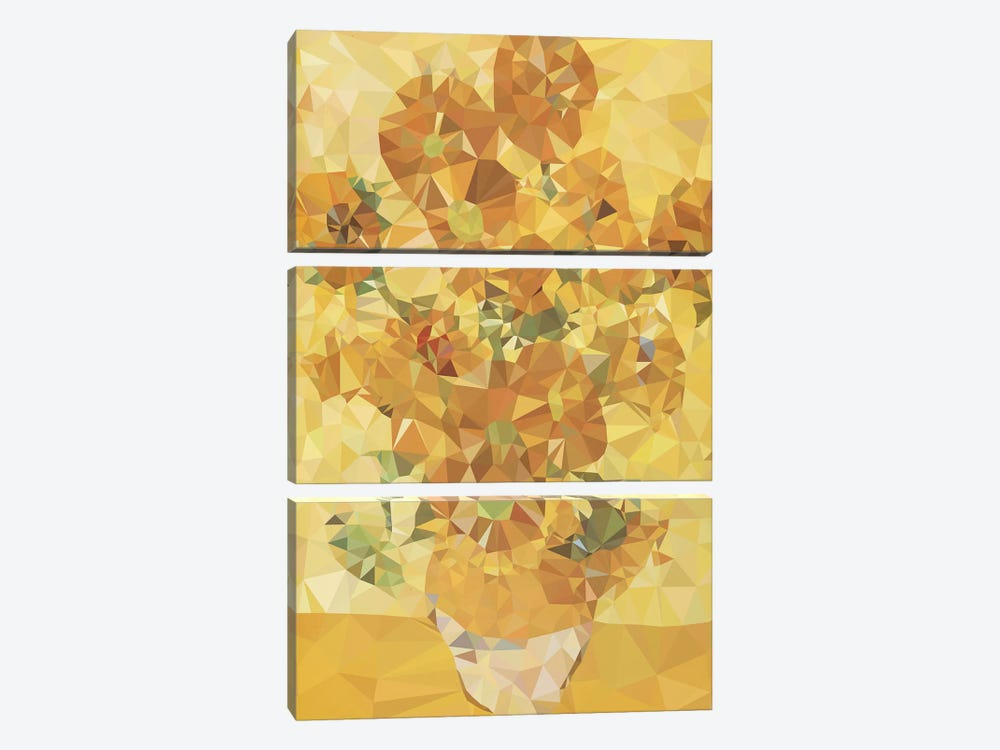 Sunflowers Derezzed by 5by5collective 3-piece Art Print