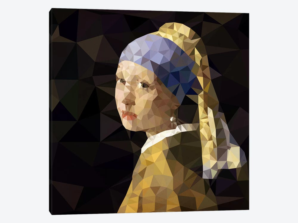Girl With Pearl Earring Derezzed by 5by5collective 1-piece Canvas Artwork