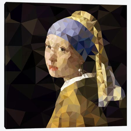 Girl With Pearl Earring Derezzed Canvas Print #DMS1} by 5by5collective Canvas Art Print