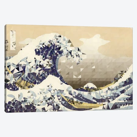 The Great Wave Derezzed Canvas Print #DMS2} by 5by5collective Canvas Art Print