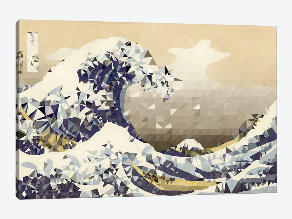 The Great Wave Derezzed by 5by5collective 1-piece Art Print