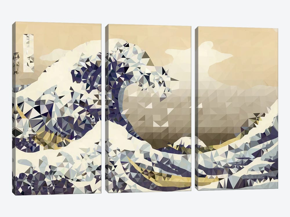 The Great Wave Derezzed by 5by5collective 3-piece Canvas Art Print