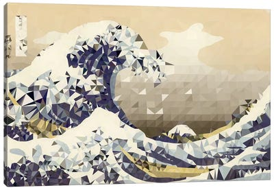 The Great Wave Derezzed Canvas Art Print
