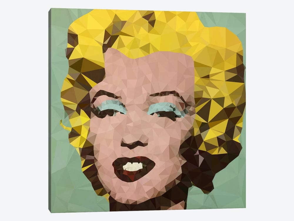 Turquoise Marilyn Derezzed 1-piece Canvas Wall Art