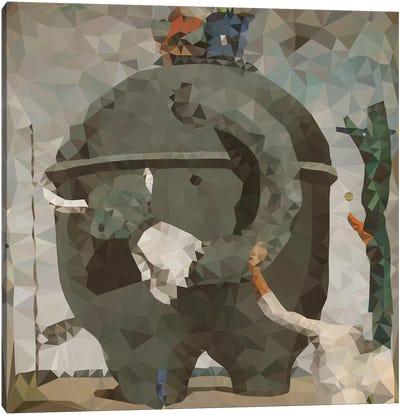 The Elephant Derezzed Canvas Art Print