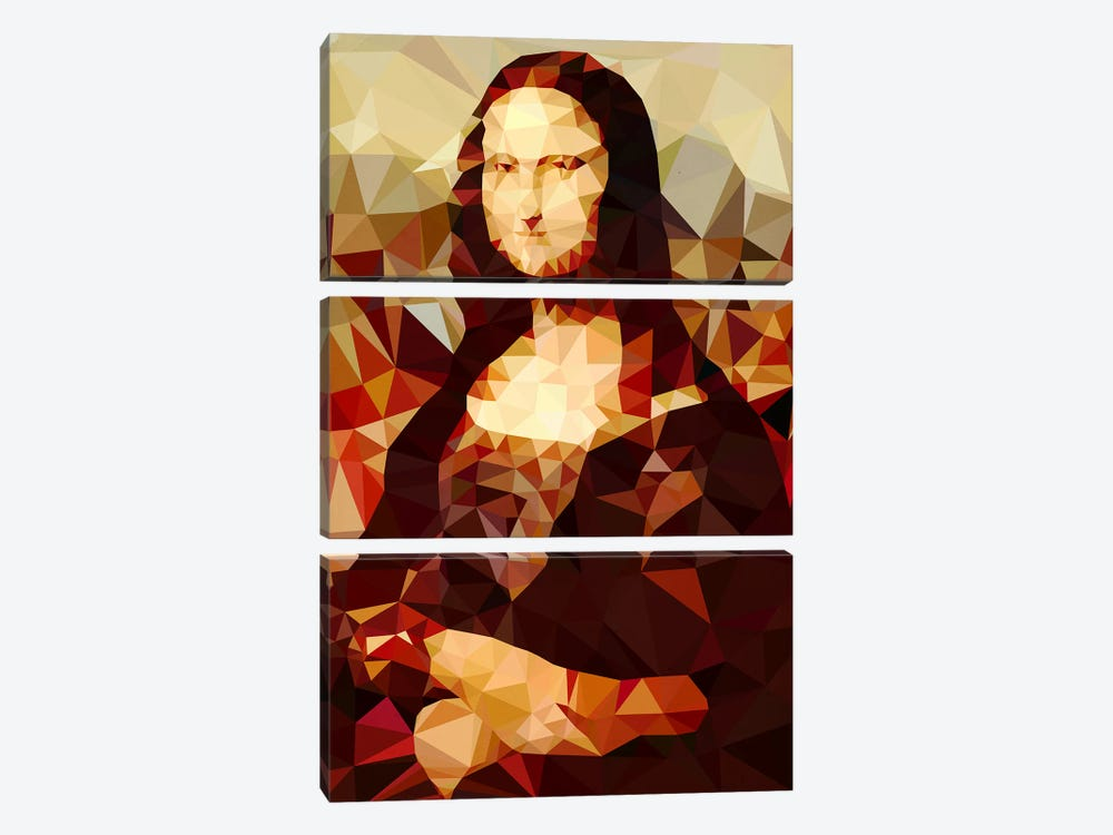 Mona Lisa Derezzed by 5by5collective 3-piece Art Print