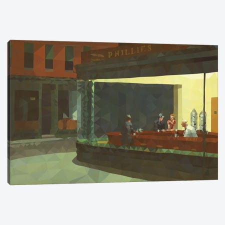 Nighthawks Derezzed Canvas Print #DMS9} by 5by5collective Art Print