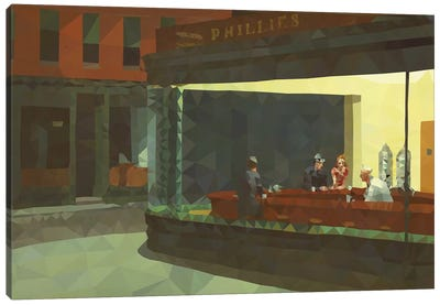 Nighthawks Derezzed Canvas Art Print