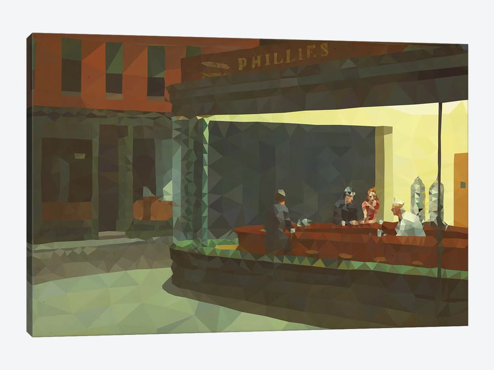 Nighthawks Derezzed by 5by5collective 1-piece Canvas Art