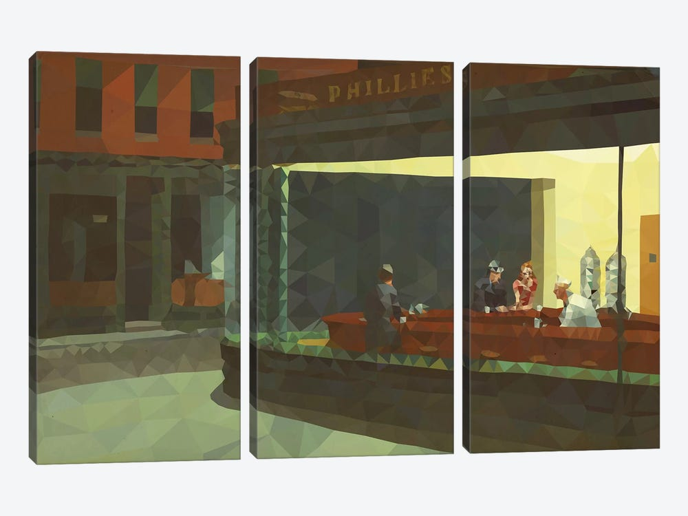 Nighthawks Derezzed by 5by5collective 3-piece Canvas Art