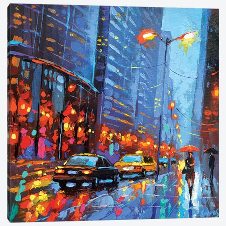 Lights Of Avenue. Canvas Print #DMT100} by Dmitry Spiros Canvas Print