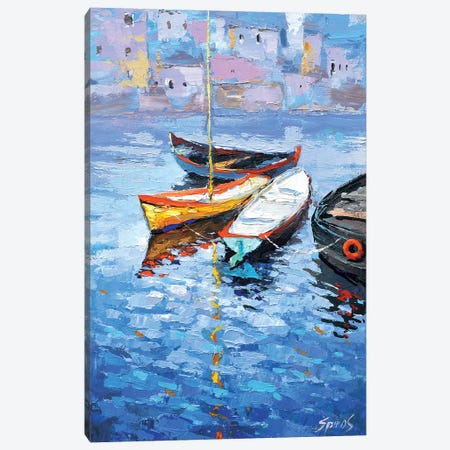 Lonely Boats Canvas Print #DMT101} by Dmitry Spiros Art Print