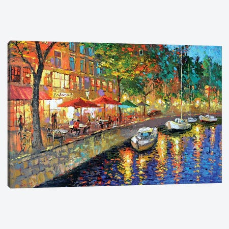 Night Cafe Cityscape Canvas Print #DMT120} by Dmitry Spiros Canvas Print