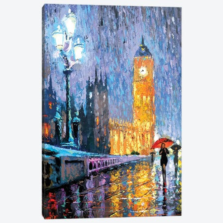Night London In Rain Canvas Print #DMT125} by Dmitry Spiros Canvas Art
