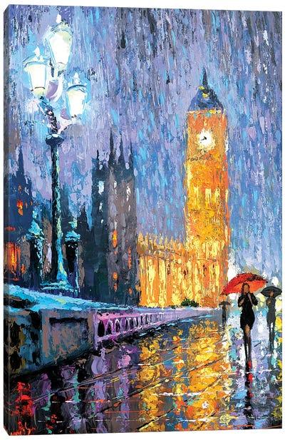 Night London In Rain Canvas Art Print