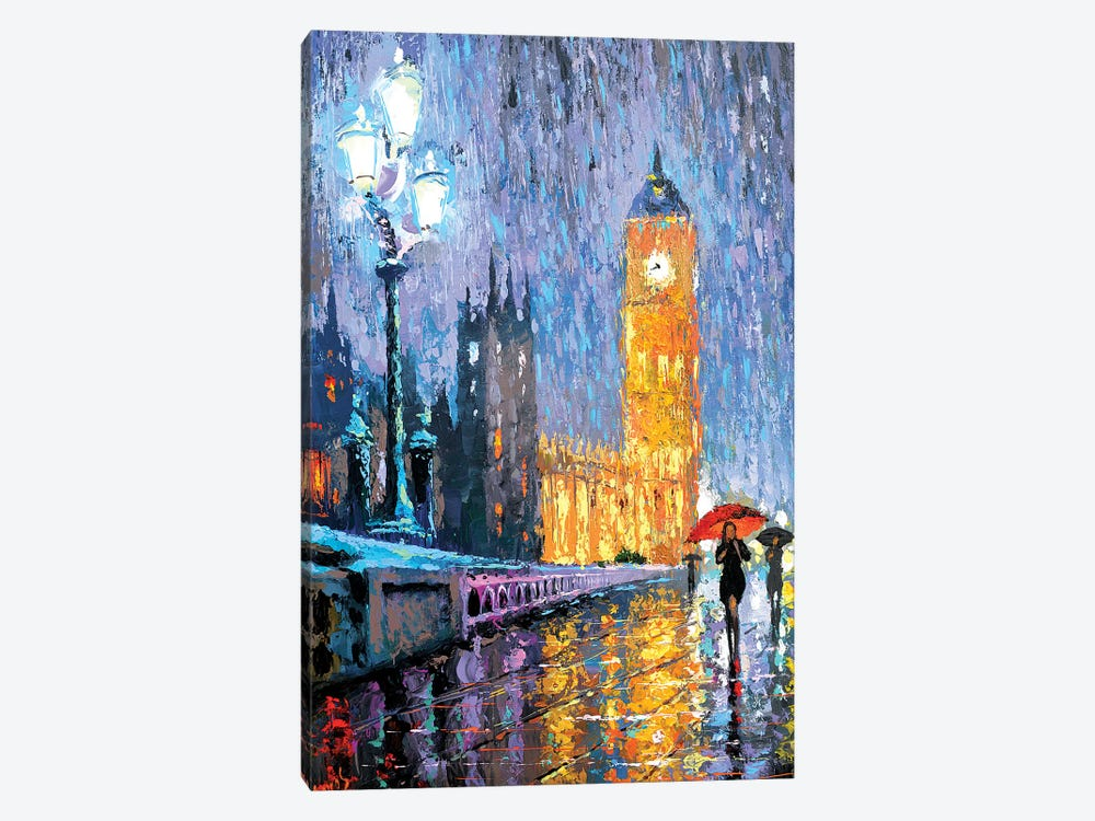 Night London In Rain 1-piece Canvas Art