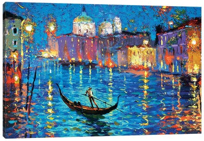 Night On A Venetian Canal Canvas Art Print