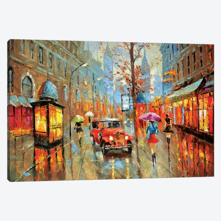 Rainy Boulevard Canvas Print #DMT145} by Dmitry Spiros Canvas Artwork