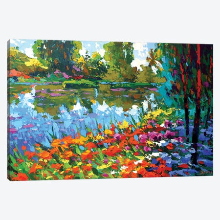 Summer Pond Canvas Print #DMT166} by Dmitry Spiros Canvas Art
