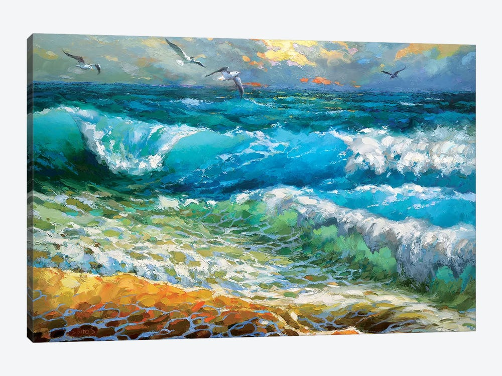 The Brilliance Of The Waves Azure by Dmitry Spiros 1-piece Canvas Art