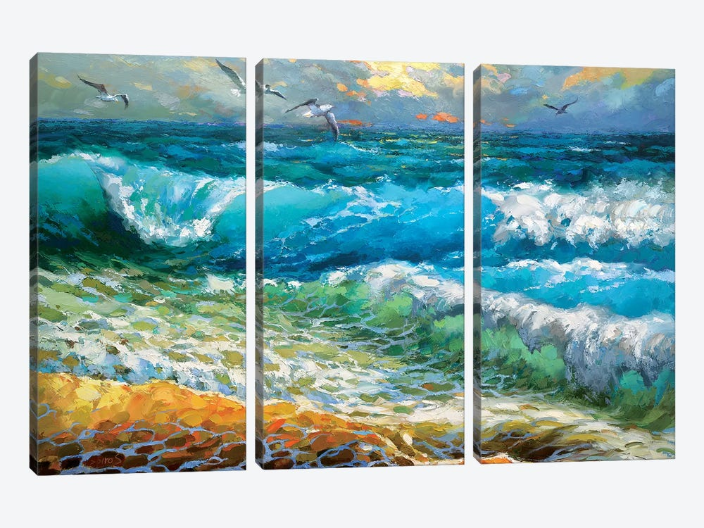 The Brilliance Of The Waves Azure by Dmitry Spiros 3-piece Canvas Wall Art
