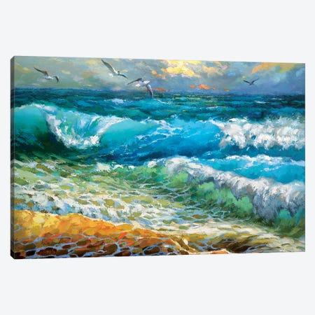 The Brilliance Of The Waves Azure Canvas Print #DMT169} by Dmitry Spiros Art Print