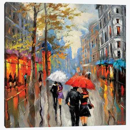 Under The Red Umbrella Canvas Print #DMT177} by Dmitry Spiros Canvas Print