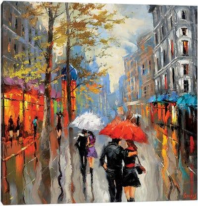 Under The Red Umbrella Canvas Art Print