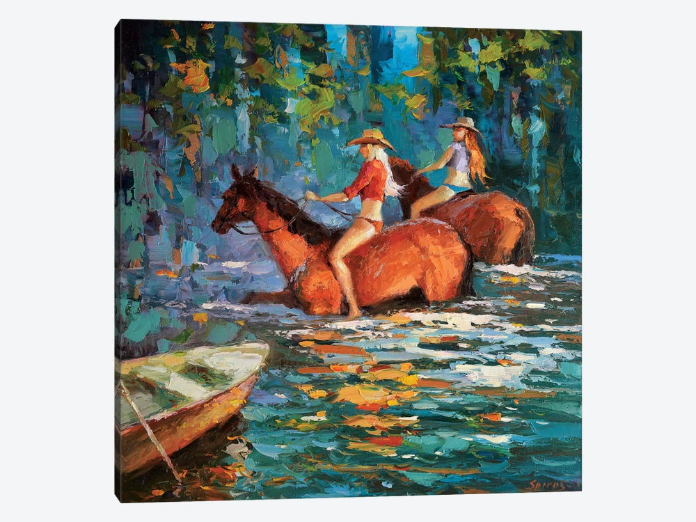 Bathing Horses by Dmitry Spiros 1-piece Canvas Artwork