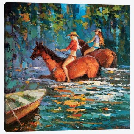 Bathing Horses Canvas Print #DMT17} by Dmitry Spiros Canvas Wall Art