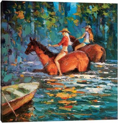 Bathing Horses Canvas Art Print