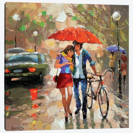 Walking In The Rain Canvas Print #DMT185} by Dmitry Spiros Canvas Wall Art