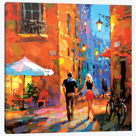 Walking Through The Night Streets Canvas Print #DMT186} by Dmitry Spiros Canvas Wall Art