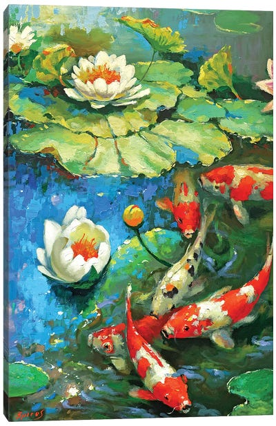 Water Lily - Sunny Pond II Canvas Art Print