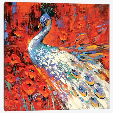 White Peacock And Poppies Canvas Print #DMT197} by Dmitry Spiros Art Print
