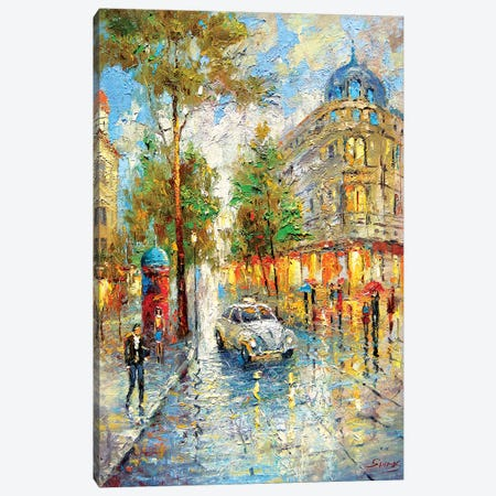 White Taxi Canvas Print #DMT198} by Dmitry Spiros Canvas Wall Art