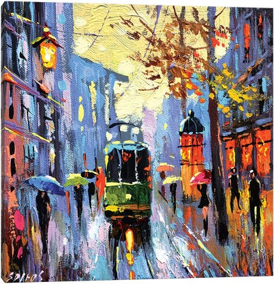 A Lonely Tram Canvas Art Print