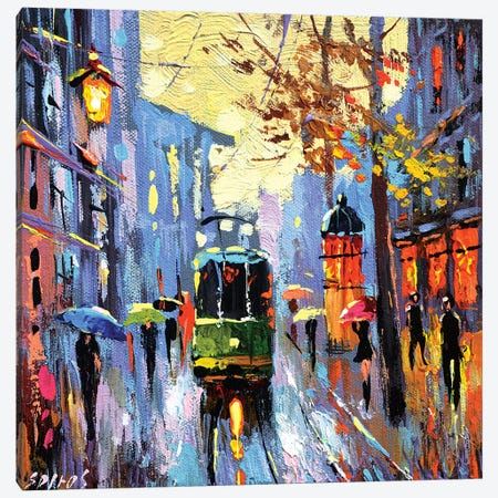 A Lonely Tram Canvas Print #DMT1} by Dmitry Spiros Canvas Art