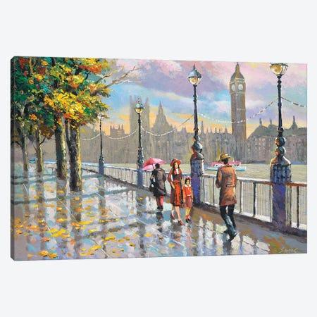 London Rainy Canvas Print #DMT203} by Dmitry Spiros Canvas Wall Art
