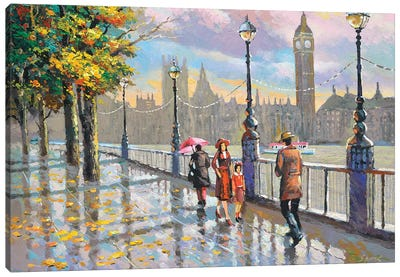 London Rainy Canvas Art Print