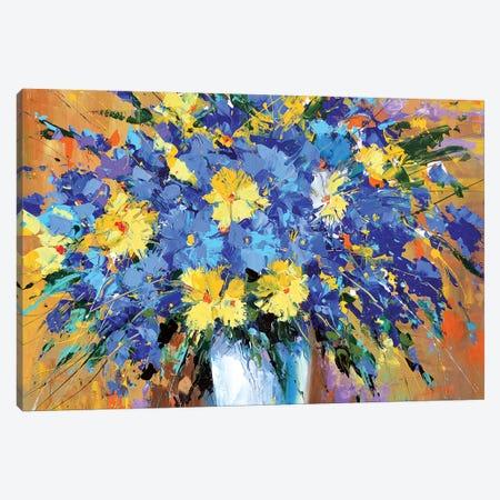 Blue Flowers Canvas Print #DMT21} by Dmitry Spiros Canvas Artwork